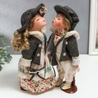 """Кукла коллекционная парочка поцелуй набор 2 шт """"Галя и Сева в серых курточках"""" 30 см"""
