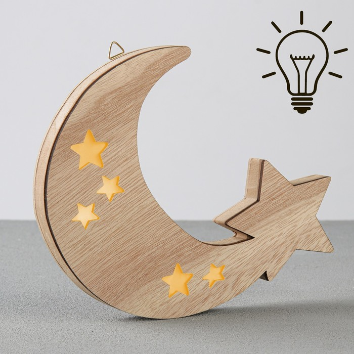 Светильник деревянный «Месяц», 19.5 × 18.2 см