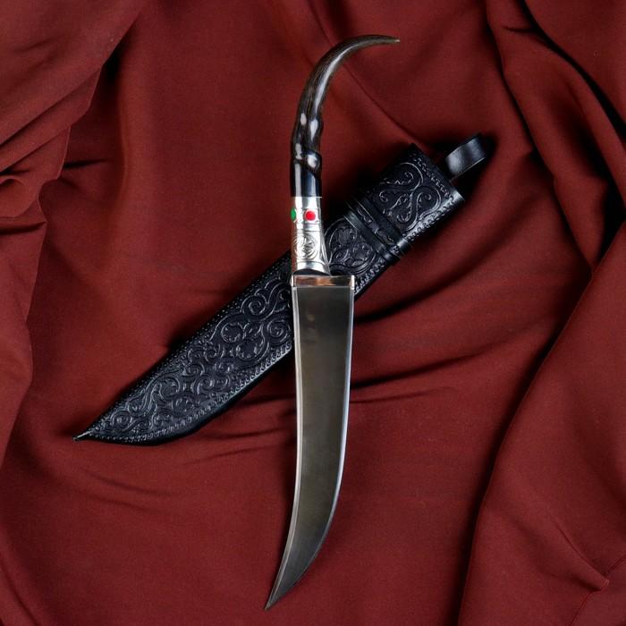 Нож Пчак Шархон - сайгак изогнутый, мельхиор, пластик, вогнутая линза