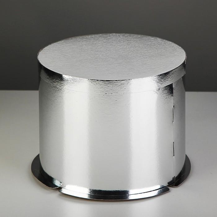 Коробка для торта 25 х 25 х 21 см, серебро
