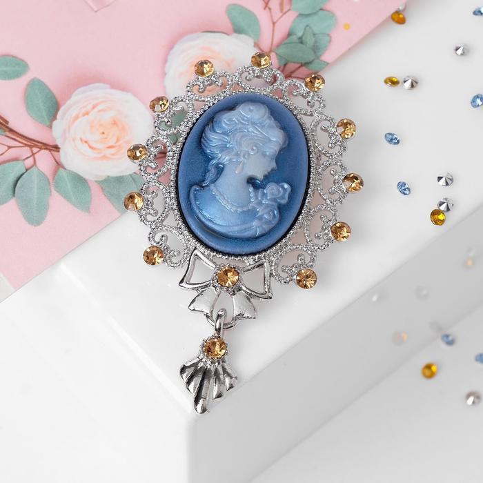 """Брошь """"Камея"""" с подвеской, цвет голубой в серебре"""