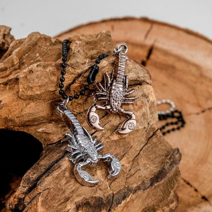 """Кулон """"Неразлучники"""" скорпион, цвет медно-серебряный, 50 см"""