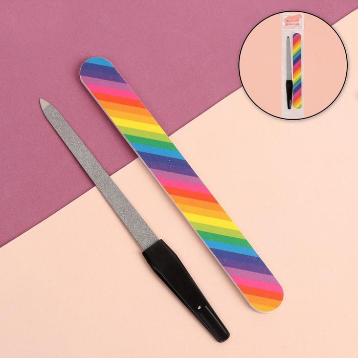 Набор маникюрный, 2 предмета, цвет чёрный/разноцветный