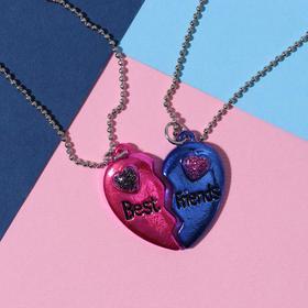 """Кулоны """"Неразлучники"""" яркие сердечки, цвет розово-синий в серебре, 45 см - фото 7383433"""