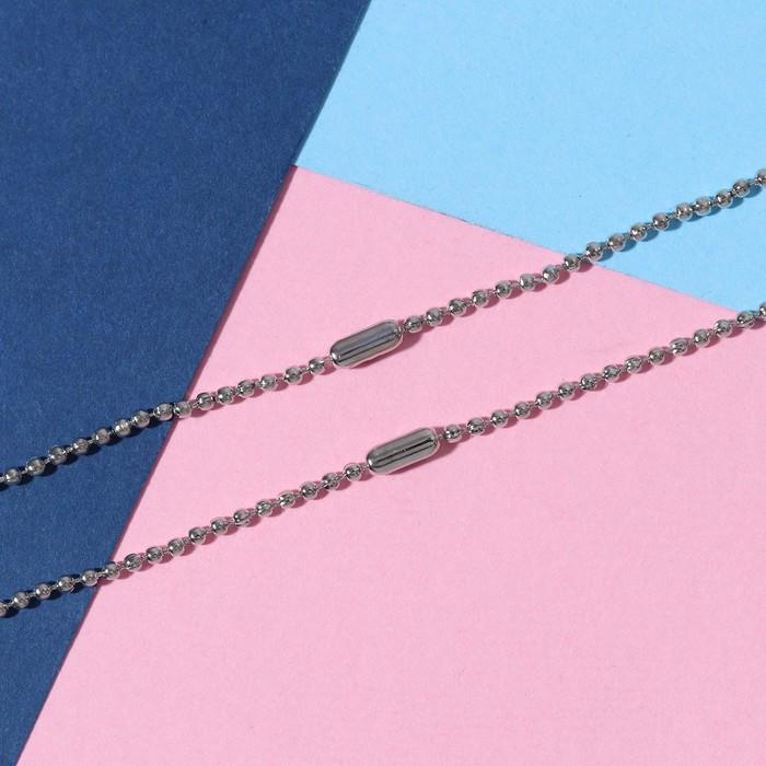 """Кулоны """"Неразлучники"""" яркие сердечки, цвет розово-синий в серебре, 45 см - фото 7383431"""
