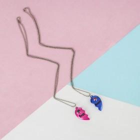 """Кулоны """"Неразлучники"""" яркие сердечки, цвет розово-синий в серебре, 45 см - фото 7383434"""