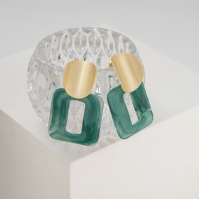 "Earrings plastic ""comme Il Faut"", the color green in gold"