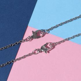 """Кулоны """"Неразлучники"""" медальоны, цвет сине-красный в серебре, 45см"""