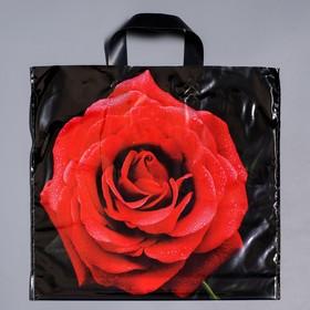 """Пакет """"Красная роза"""", полиэтиленовый с петлевой ручкой, 38х45 см, 45 мкм"""