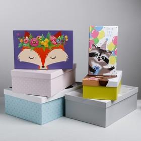 "Kit boxes rectangular 6 in 1 ""Cute animals"", 22.5 × 12.5 × 7.5‒34.5 × 25 × 12.5 cm"