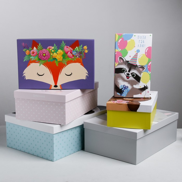 Набор подарочных коробок 6 в 1«Милые зверята», 22.5 × 12.5 × 7.5‒34.5 × 25 × 12.5 см - фото 727360716