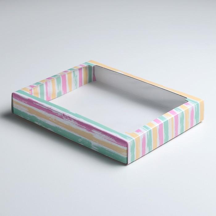 """Коробка сборная крышка-дно с окном, """"Радужный забор"""", 26 х 21 х 4 см"""