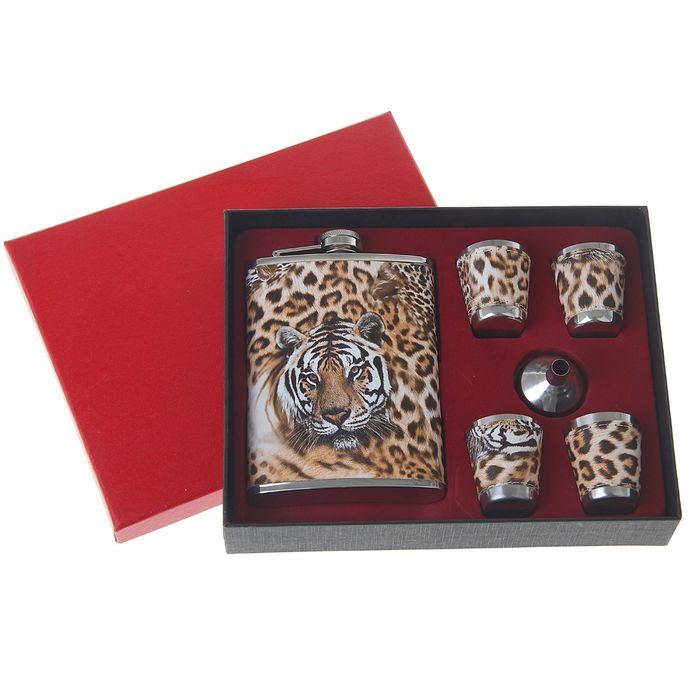 """Подарочный набор 6 в 1 """"Леопард"""": фляжка 240 мл + 4 рюмки, воронка"""