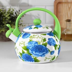 Чайник со свистком Доляна «Пионы», 2,2 л, фиксированная ручка, цвет зелёный