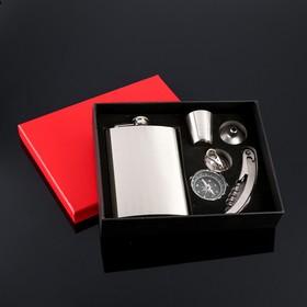 """Подарочный набор 5 в 1 """"Металлический холод"""": фляжка 270 мл + рюмка, компас, нож 3 в 1, воронка"""