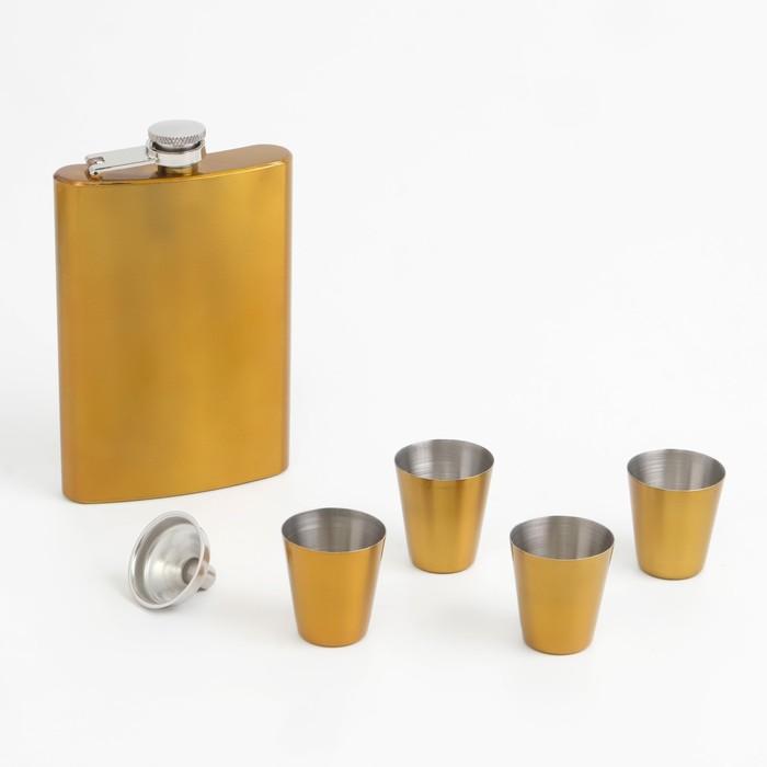 Подарочный набор 6 в 1: фляжка 270 мл, воронка, 4 рюмки, золотой, 18х24 см
