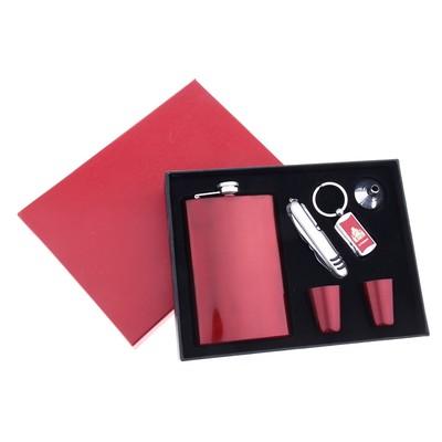 Набор подарочный 6в1: фляжка 270 мл, 2 рюмки, воронка, нож 7в1, брелок, красный глянец