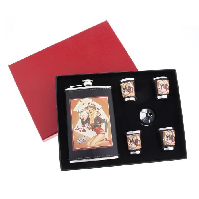 """Подарочный набор 6 в 1 """"Девушка и карты"""": фляжка 270 мл + 4 рюмки, воронка"""