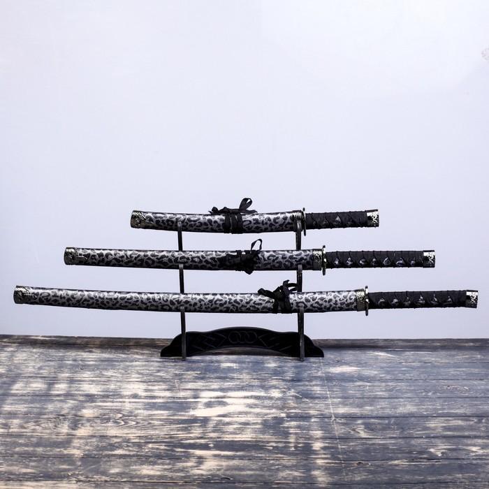 Сувенирное оружие «Катаны на подставке», коричневые ножны под леопарда