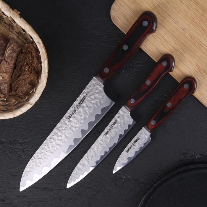 Набор кухонных ножей Samura Kaiju, 3 шт: лезвия 7,8 см, 15 см, 21 см, сталь AUS-8, деревянная рукоять
