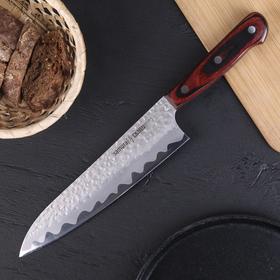 Нож SAMURA KAIJU шеф, чернёная сталь, лезвие 21 см, с деревянной ручкой сталь AUS-8