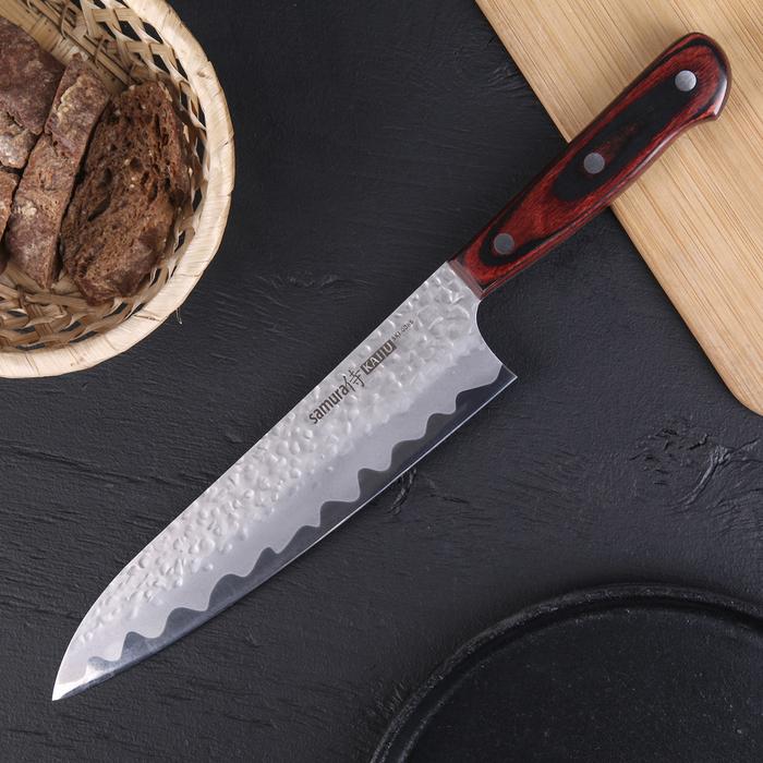 Нож шеф кухонный Samura Kaiju, лезвие 21 см, чернёная сталь AUS-8, деревянная рукоять