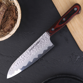 Нож SAMURA KAIJU шеф сантоку, чернёная сталь, лезвие 18 см, с деревянной ручкой сталь AUS-8