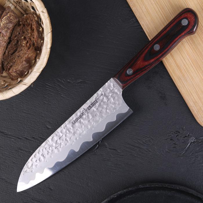 Нож шеф кухонный сантоку Samura Kaiju, лезвие 18 см, чернёная сталь AUS-8, деревянная рукоять