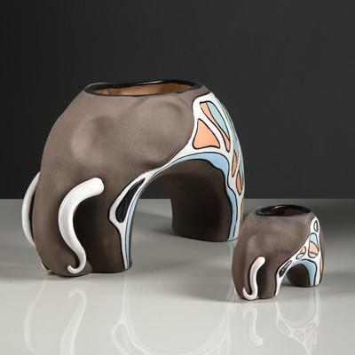 """Набор ваз """"Слоны"""" 2 шт коричневый"""