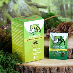 Влажная салфетка от комаров на натуральных эфирных маслах, 10 шт