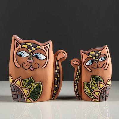 """Набор ваз """"Котики с подсолнухом"""" 2 шт"""