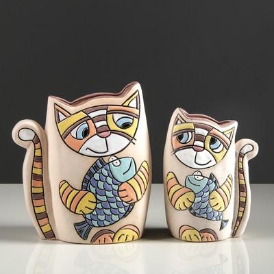 """Набор ваз """"Котики с рыбками"""" 2 шт"""