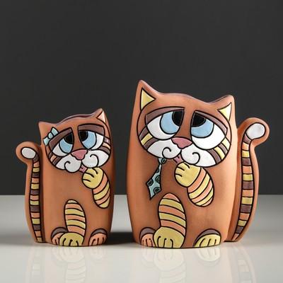 "Набор ваз ""Котики"" 2 шт коричневая"