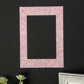Паспарту для фоторамки 10х15 см 'Пышный цвет на светло-розовом' внешний размер 15х21 см Ош