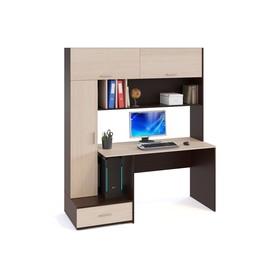 Компьютерный стол, 1600 × 600 × 1850 мм, цвет венге / белёный дуб