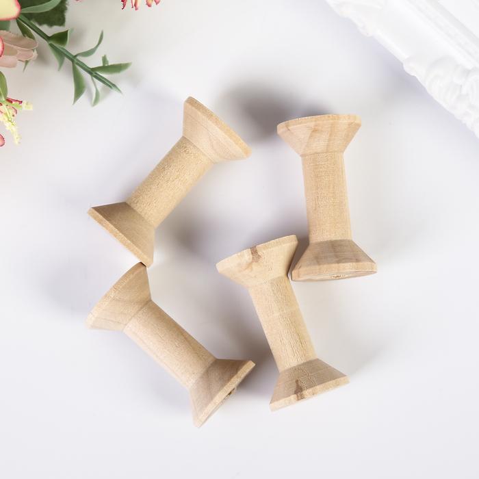 """Набор декора для творчества дерево """"Катушка"""" (набор 4 шт) 4х2х2 см - фото 420221"""