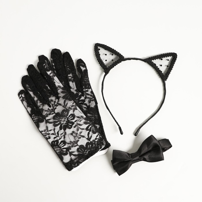Карнавальный костюм «Мяу», ободок, ушки, перчатки, бабочка