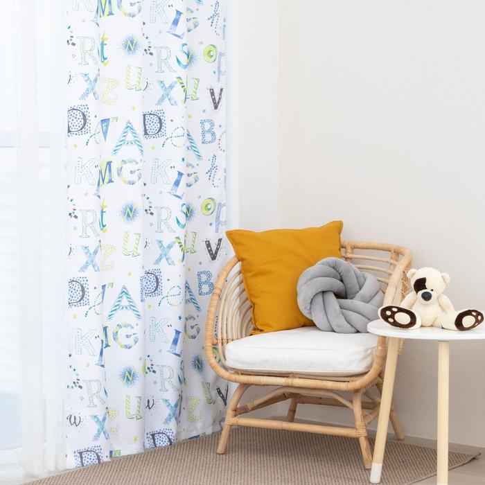 Портьера Крошка Я «Алфавит», без держателя, цвет белый, 110 × 260 см, блэкаут, п/э 100 %