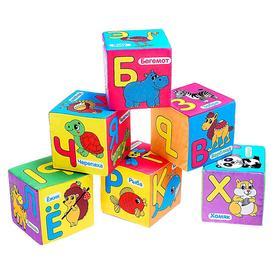 Мягкие кубики «Учим алфавит», 6 шт, 10 х 10 см, по методике Монтессори
