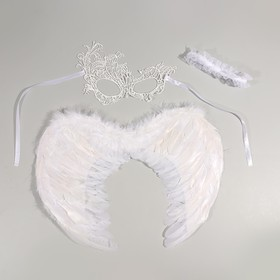 Carnival set angel wings+mask+headband