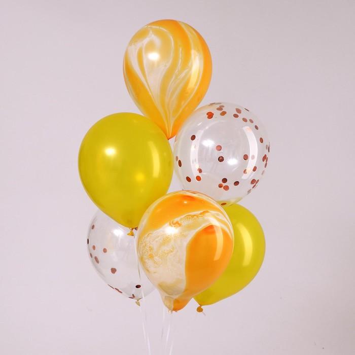 """Шары латексные 12"""" «Солнечные», набор 6 шт., цвет жёлтый - фото 308470591"""