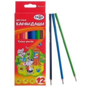 Карандаши 12 цветов «Гамма» «Мультики», стержень d=2.6 мм, трёхгранные
