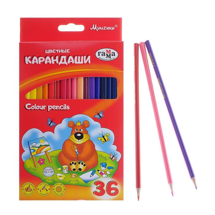 Карандаши 36 цветов «Мультики», стержень d=2.6 мм, трёхгранные