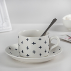 "A couple of tea ""Gift"": a mug 160 ml, saucer 13 cm, spoon, pattern MIX"