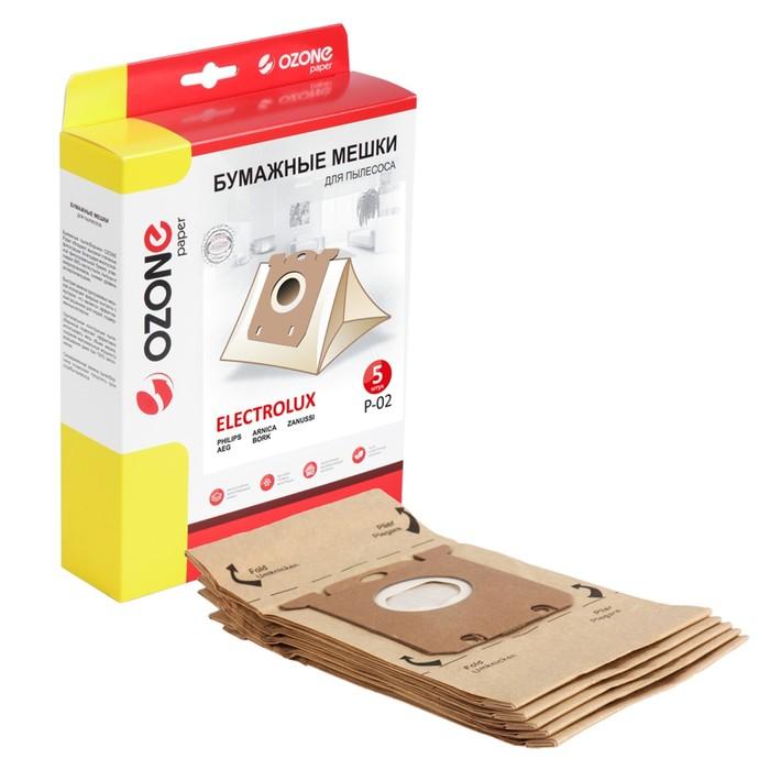Мешки-пылесборники P-02 Ozone бумажные для пылесоса, 5 шт