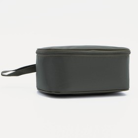 Cosmetic bag road, division zipper, with handle, color olive