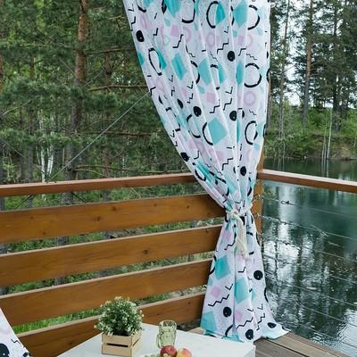 Портьера для террасы «Этель» Квадраты, 200×210 см, репс с пропиткой ВМГО, 100% хлопок