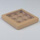Коробка под макаруны, крафт с окном, 19,4 х 19,4 х 3 см - фото 246546806