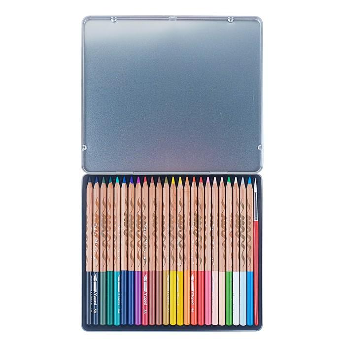 Карандаши акварельные 24 цвета Maped ARTIST, с кистью, металлический футляр - фото 448839109