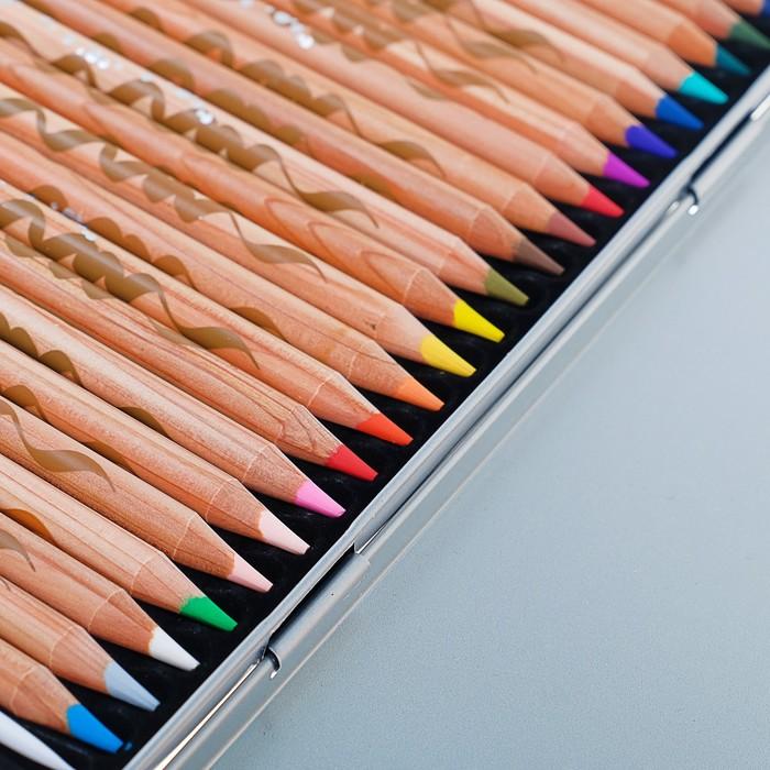 Карандаши акварельные 24 цвета Maped ARTIST, с кистью, металлический футляр - фото 448839110